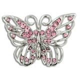 Rhinestone Butterfly Pin Pink