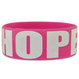 Pink 'HOPE' Rubber Bracelet 1 Inch Wide