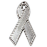 Silver Ribbon Lapel Pin