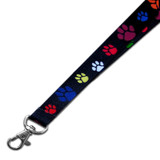 Multi-Colored Paw Print Lanyard