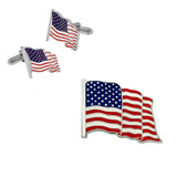 American Flag Cufflinks and Pin Set - Silver