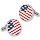 Round American Flag Cufflink Set