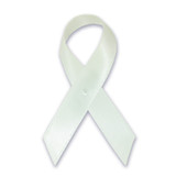 Cloth Awareness Ribbon - 25 Pack - White