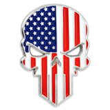 American Flag Skull Lapel Pin