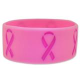 Breast Cancer Pink on Pink Rubber Bracelet 1 Inch Wide - BOGO