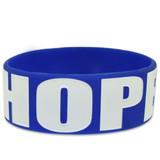 Blue HOPE Rubber Bracelet 1 Inch Wide