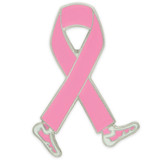 Walking Breast Cancer Ribbon Pin