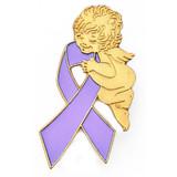 Lavender Ribbon Angel Pin