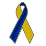 Blue and Yellow Down Syndrome Awareness Ribbon Pin