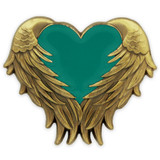 Teal Heart With Wings Pin