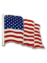 Waving American Flag Silver Pin - Made in the U.S.A.