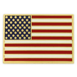 Rectangle American Flag Gold Pin - Made in the U.S.A.