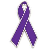 Purple Ribbon Pin Magnetic Back