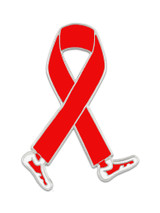 Walking Red Ribbon Pin