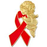 Red Ribbon Angel Pin