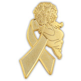 Gold Ribbon Angel Pin