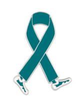 Walking Teal Ribbon Pin