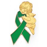 Green Ribbon Angel Pin