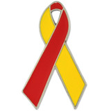 Red and Yellow Awareness Ribbon Pin