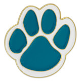 Paw Pin - Teal and White