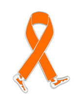 Walking Orange Ribbon Pin