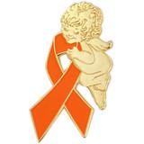 Orange Ribbon Angel Pin
