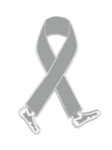 Walking Grey Ribbon Pin