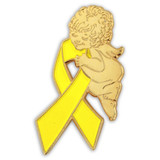 Yellow Ribbon Angel Pin