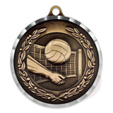 "2"" Diamond Cut Volleyball Medal - Engravable"