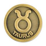 Antique Gold Taurus Zodiac Pin