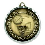 "2"" Diamond Cut Basketball Medal - Engravable"