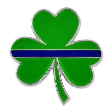 Thin Blue Line Green Shamrock Pin