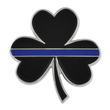 Thin Blue Line Shamrock Pin