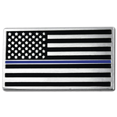 Thin Blue Line American Flag Pin