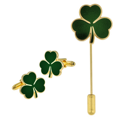 Shamrock Cufflinks and Stick Pin Set
