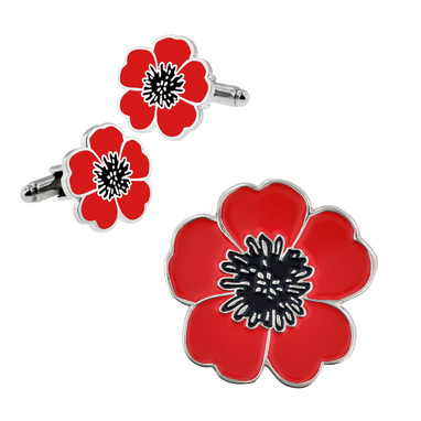 Poppy Flower Cufflinks and Pin Set