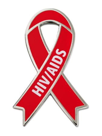 HIV/AIDS Awareness Ribbon Pin Front