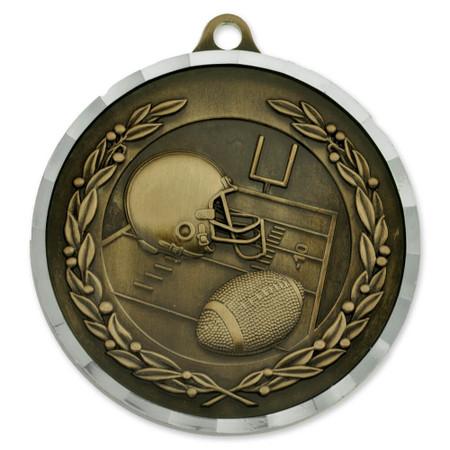 "2"" Football Diamond Cut Medal - Engravable"