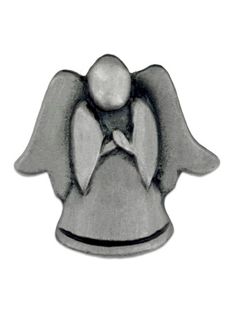 Angel Praying Pin - 3D Antique Silver Front