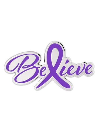 Believe Purple Awareness Pin Front