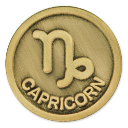Antique Gold Capricorn Zodiac Pin Front