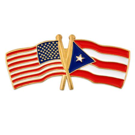 USA and Puerto Rico Flag Pin Front
