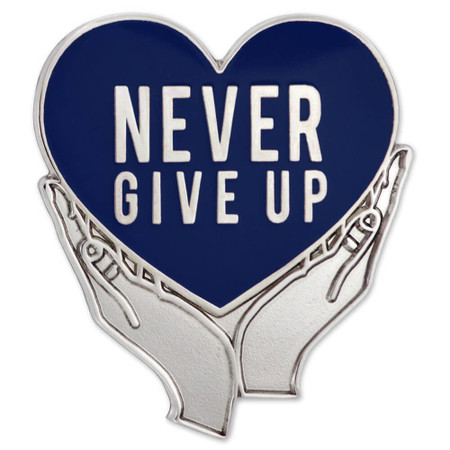 Never Give Up Pin - Blue Front