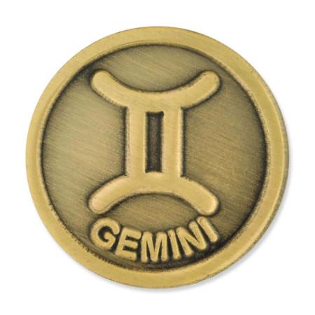 Antique Gold Gemini Zodiac Pin Front