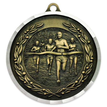 "2"" Cross Country Diamond Cut Medal - Engravable"