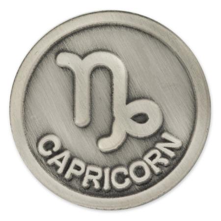 Antique Silver Capricorn Zodiac Pin Front