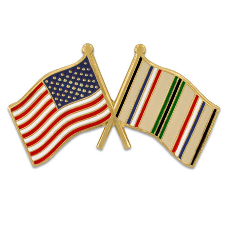 USA and Desert Storm Crossed Flag Pin Front