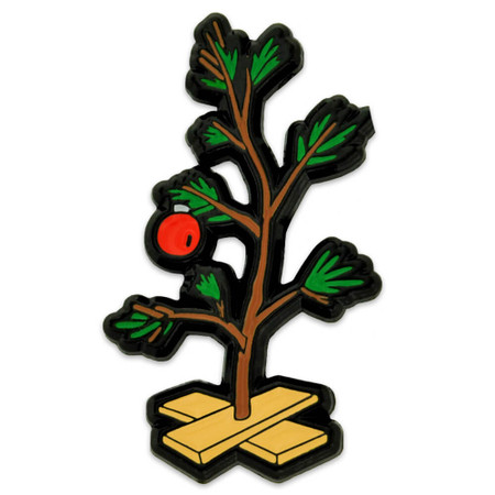 Sad Christmas Tree Pin Front