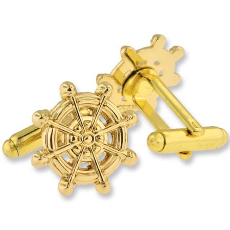 Nautical Captain Wheel Cufflink Set Alt Gold