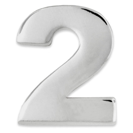 Silver Number 2 Pin Front